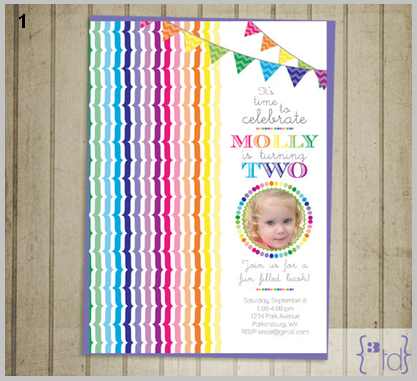 3 Tot Designs Rainbow Invitiation
