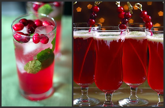 Cranberry Mojitos from We are not Martha; Mistletoe and Holly Cocktail from A Joyeux Day.