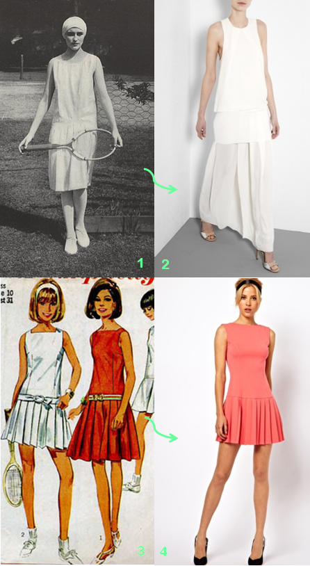 -1. Edward Steichen image, published in Vogue, 1927; 2. Acne 'Barika' Maxi Dress in Lily White, from My wardrobe; 3. Simplicity 7092 pattern, via Old Patterns; 4. ASOS PETITE Mini Dress with Drop Waist in Pink.