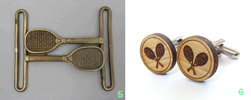 -5. Brass Tennis Belt Buckle from Manfred Schotten Antiques; 6. Tennis Cufflinks in wood from Cabin and Cub.