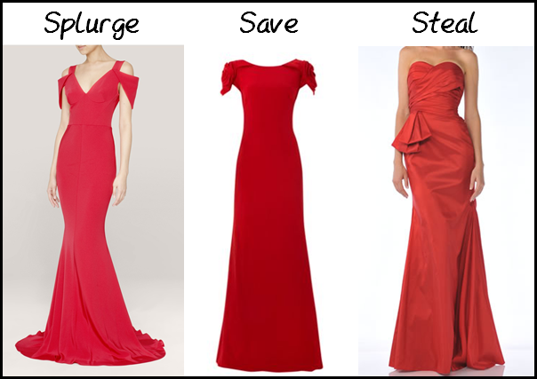 (L-R) Prabal Gurung Silk-Crepe Gown, from Lane Crawford - $AU4,530.00; JS Collection Cowl Back Maxi with Rosette Detail shoulders, from House of Fraser - £260.00, CD-1357, from The Rose Dress - $US76.00.