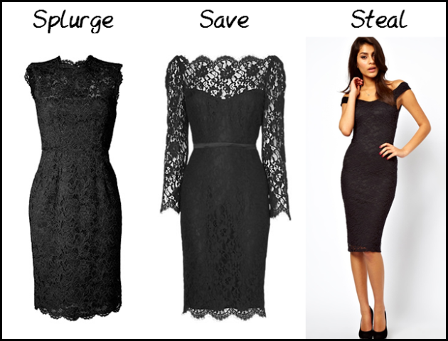 (L-R) Valentino Black Lace Dress, from Stylebop - £1,965.00; Jaeger Scalloped Lace Dress, from Jaeger - £199.00; ASOS Midi Bodycon with Lace Off Shoulder, from ASOS - $AU49.27.
