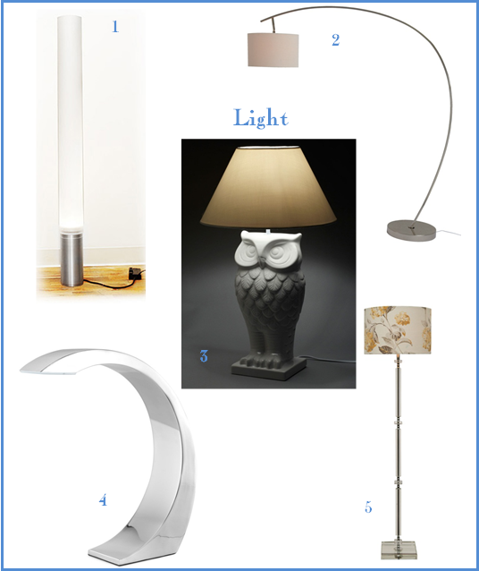 "1. Pablo Pardo's Elise Lamp, via Uncommon Goods; 2. Noah Large Curved Floor Base with 16"" Drum Shade, from Laura Ashley; 3. Owl Lit Up Lamp, from Mod Cloth; 4. Curve touch Lamp, via Uncommon Goods; 5. Paloma Floor Glass Base with 16"" Drum Shade, from Laura Ashley."